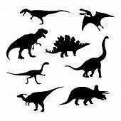 Dinosaur Silhouettes Set. Vector Illustration Isolated On White. poster
