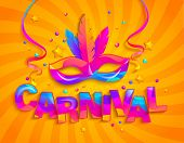 Mask With Feathers For Carnival Festive On Orange Sunburst Background. Traditional Masque For Carnav poster