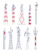 Communication Tower. Cellular Broadcasting Tv Wireless Radio Antena Satellite Construction Vector Pi poster