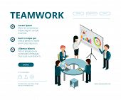 Business Meeting Landing. Company Managers Financial Director Consultation Management Vector Web Pag poster