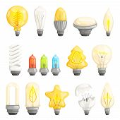 Light Bulbs. Modern Lamp Save Energy Fluorescent Lighted Halogen Vector Cartoon Pictures Collection. poster