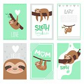 Sloth Cards Design. Pajama Textile Print With Cute Little Sleepy Animal On Branch Vector Pictures Co poster