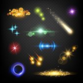 Glow Lens Effects. Glares Bokeh Circles Burst Fireworks Lightning Vector Abstract Template. Lightnin poster