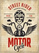 Retro Poster Bikers. Skull Motorcycle Gang Rider Concept Placard Vector Template. Illustration Of Bi poster