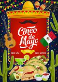Cinco De Mayo Traditional Mexican Fiesta Party Celebration. Vector Sombrero And Mustache, Mexico Fla poster