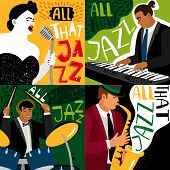Banners Jazz Band Play On Musical Instruments. Vector Concert Musical, Banner And Poster Illustratio poster