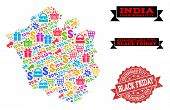 Black Friday Collage Of Mosaic Map Of Chandigarh City And Scratched Stamp. Vector Red Imprint With S poster