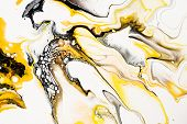 Mixture Of Acrylic Paints. Modern Artwork. Yellow And Black Mixed Acrylic Paints. Liquid Marble Text poster