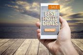 Best Hotel Deals. Hotel, Accommodation, Travel, Tourism Concept. poster