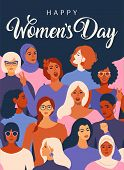 Female Diverse Faces Of Different Ethnicity Poster. Women Empowerment Movement Pattern. Internationa poster