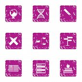 Choice Of The Way Icons Set. Grunge Set Of 9 Choice Of The Way Icons For Web Isolated On White Backg poster