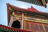 Roof Detail Of Chinese Temple Texture Background. Beautiful Chinese Temple Roof Detail With Colorful poster
