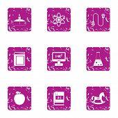Academic Degree Icons Set. Grunge Set Of 9 Academic Degree Icons For Web Isolated On White Backgroun poster