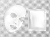 Vector 3d Realistic White Sheet Facial Cosmetic Mask And Sachet Isolated On Transparent Background.  poster