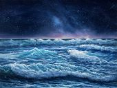 Original Oil Painting Showing Waves In  Ocean Or Sea And Night Sky On Canvas.night Scene With Stars. poster