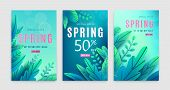 Spring Sale Background. Springtime Discount Poster Set With Bright Green Blue Fantasy Leaves, Light  poster