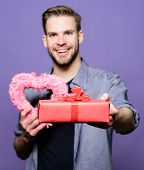Love And Romantic Feelings Concept. Valentines Day Gift. Romantic Gift. Man With Beard And Happy Fac poster