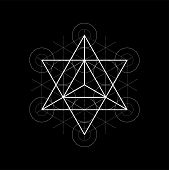 Star Tetrahedron From Metatrons Cube, Sacred Geometry Vector Illustration On Black poster