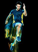 one caucasian runner running jogger jogging man light painting speed effect  isolated on black backg poster