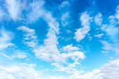 Blue Sky With White Clouds. Daytime And Good Weather poster