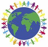Постер, плакат: Руки вокруг мира
