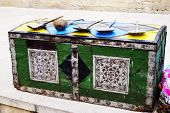 Treasure Chest. Ancient Wooden Treasure Chest Locked On Wooden Surface Background. Old Wood Chest Cl poster