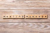 Healing Massage Word Written On Wood Block. Healing Massage Text On Wooden Table For Your Desing, Co poster
