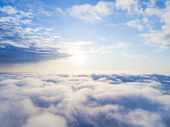 Aerial View White Clouds In Blue Sky. Top View. View From Drone. Aerial Birds Eye View. Aerial Top  poster