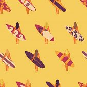 Summer Surfer Girl Seamless Vector Pattern. Women Holding Surfboards Illustration Yellow Pink Purple poster