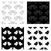 Cute Cartoon Birds Kissing Pattern Collection With Hand Drawn Birds. Sweet Vector Black And White Bi poster