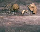 Artistic Crafting Supplies And Art Tools Of Hemp Yarn, Natural Cardboard Boxes And Stamps For Creati poster