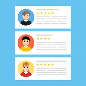 User Reviews Online. Customer Feedback Review Experience Rating Concept. User Client Service Message poster