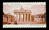 GERMANY - CIRCA 2007: A stamp printed in Germany shows Brandenburg Gate on paint by Carl Gotthard La