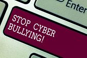 Word Writing Text Stop Cyber Bullying. Business Concept For Prevent Use Of Electronic Communication  poster
