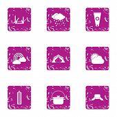 Meteorological Observation Icons Set. Grunge Set Of 9 Meteorological Observation Icons For Web Isola poster