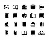 Black Books Icons. Study Education Book Set, Textbook Magazine Diary Bible Business Collection. Vect poster