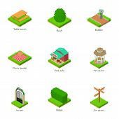 Green Yard Icons Set. Isometric Set Of 9 Green Yard Icons For Web Isolated On White Background poster