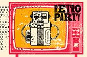 Retro Party Typographic Grunge Poster Design With Old Television Screen And Robot Musician. Vector I poster