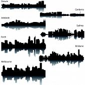 image of oz  - Detailed vector silhouettes skylines of Australian cities - JPG
