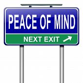 picture of stress relief  - Illustration depicting a roadsign with a peace of mind concept - JPG