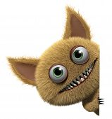 stock photo of monsters  - 3 d cartoon cute furry gremlin monster - JPG