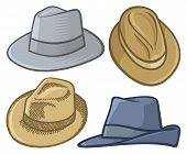 image of fedora  - Four fedora hat illustrations isolated on white - JPG