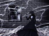 foto of spiderwebs  - Illustration of haunted old castle interior with ghost vampire witch woman - JPG