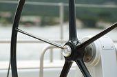 foto of rudder  - Black Yacht Rudder close up - JPG