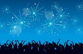 stock photo of rave  - Vector background of a New Year eve celebration with silhouettes of raving people and fireworks - JPG
