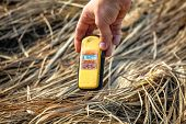 stock photo of geiger  - Geiger counter in Chernobyl march 2012 closeup - JPG