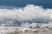 picture of growler  - Frozen sea with stack of ice floes - JPG