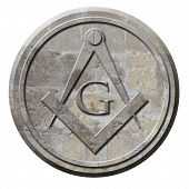 stock photo of freemason  - Freemason symbol of compass and square carved in stone circle - JPG