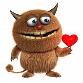 foto of bigfoot  - 3d cartoon cute love furry brown alien monster - JPG