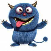 image of bigfoot  - 3 d cartoon cute blue furry alien - JPG